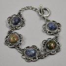 Vintage Cabochon Stones Bracelet in Silvertone Filigree Setting w/ Toggle Clasp