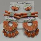 Vintage Courtney G Folk Art Wooden Pierced Dangling Earrings