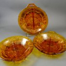 Set of 3 Indiana Glass Killarney Amber Divided Relish Dishes w/ Tab Handle