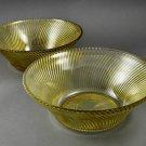 "Set of 2 Federal Glass Diana Amber Depression 9"" Salad Bowls"