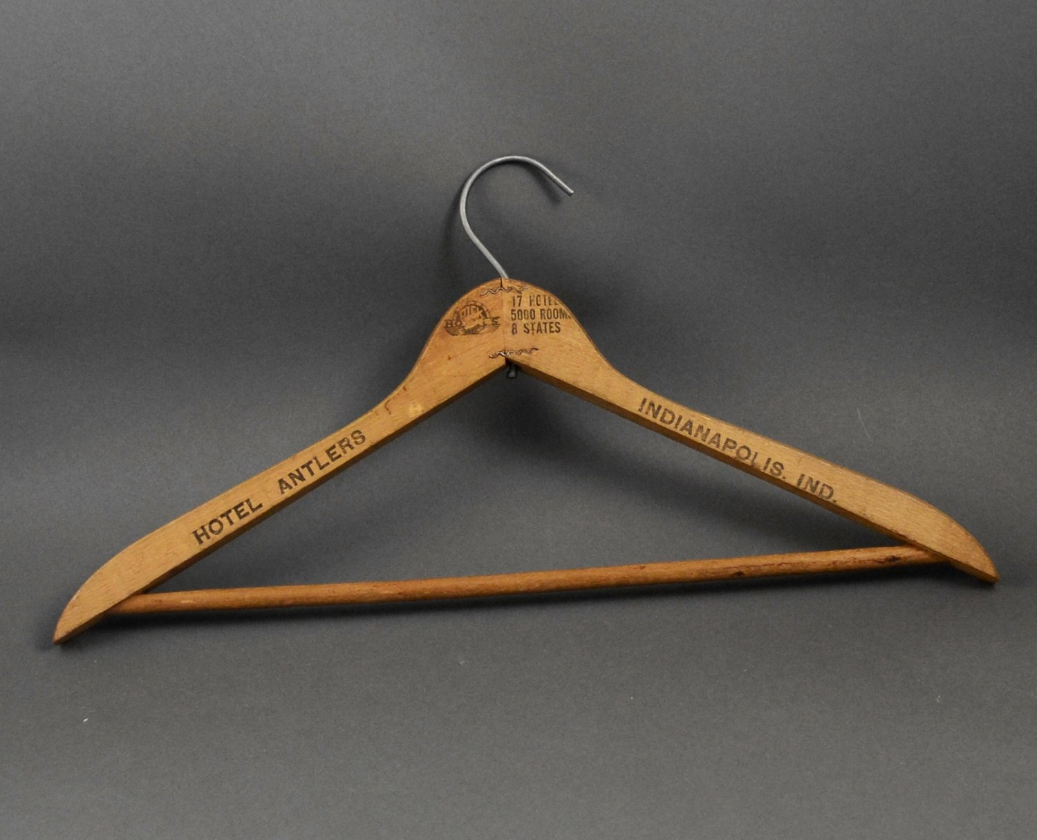Vintage Hotel Antlers Indianapolis IN Wood Coat Hanger Collectible w/ Pants Bar