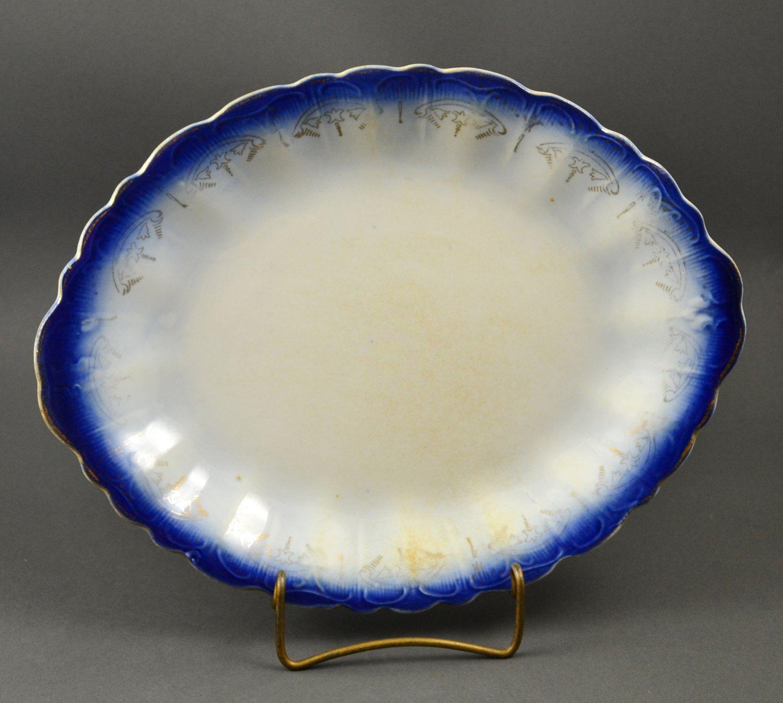 Vintage Flo Blue Porcelain Platter with Gold Trim Design
