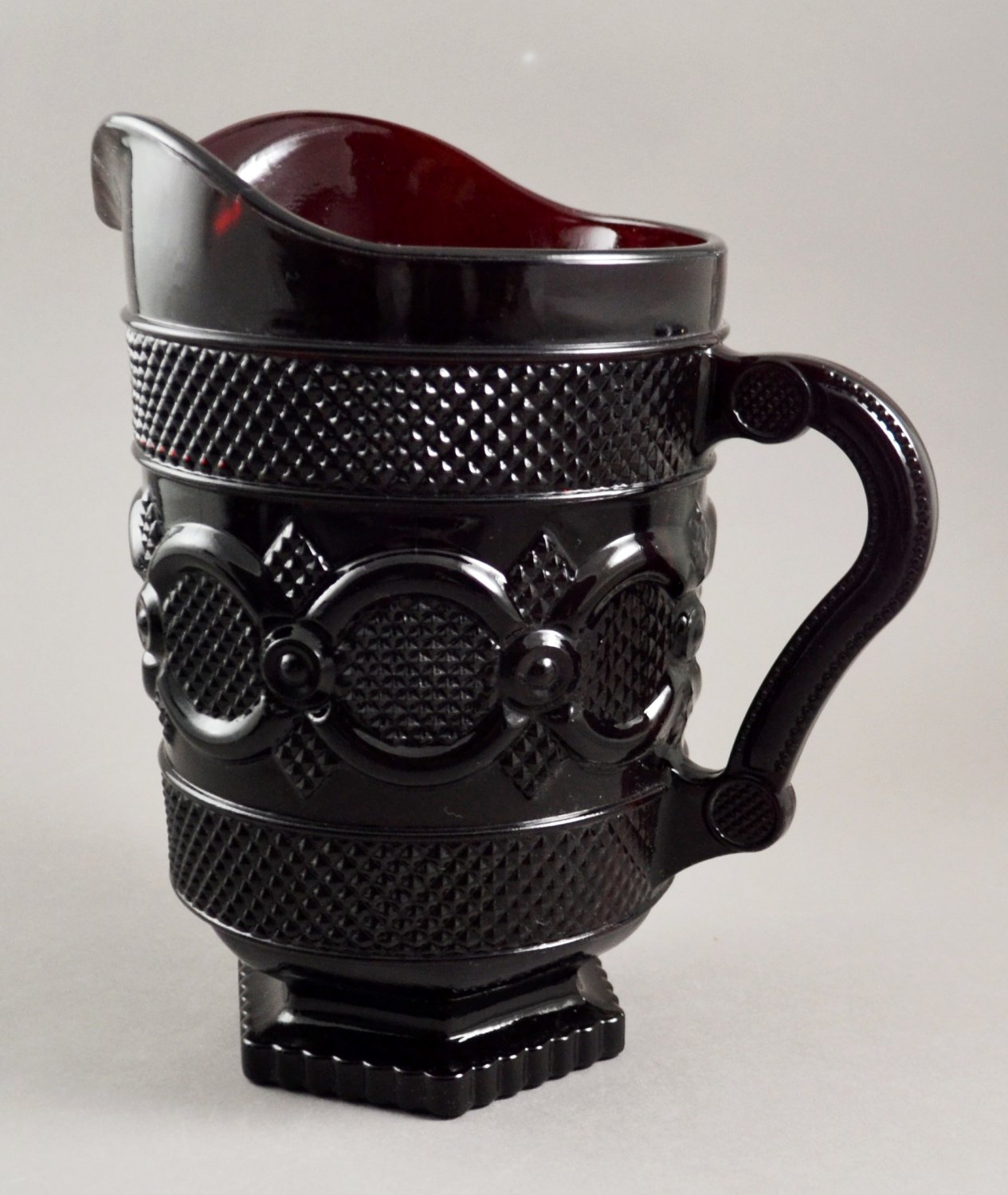 Avon Ruby Red Glass Pitcher  1876 Cape Cod Collection