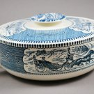 Royal China Vintage Currier & Ives Blue Covered Casserole Dish