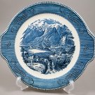 Royal China Currier & Ives Blue Tabbed Platter Rocky Mountains