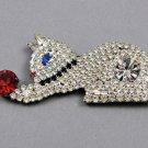 Dorothy Bauer Designs Rhinestone Vintage Kitty Cat Brooch Pin