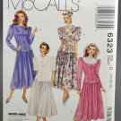 McCall's 6323 Misses' Two Piece Dresses 1990s Sewing Pattern Size C 10-12-14