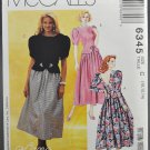 McCall's 6345 Lanz Sewing Pattern Misses' Dress Size C 10-12-14