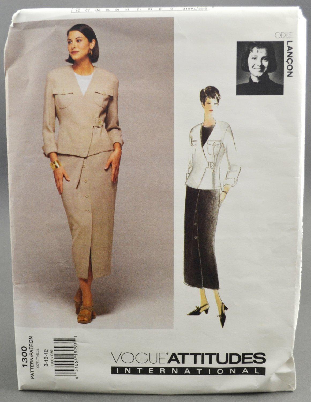 Vogue Attitudes 1300 Odile Lancon 1990s Jacket & Skirt Misses' Size 8-10-12