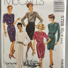 McCall's 5728 Misses' Dresses Two Lengths Fashion Basics Sewing Pattern 1990s Size B 8-10-12