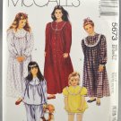McCall's 5673 Sewing Pattern Girls' Sleepwear Nightgown Pajamas Size Ex-Small 2-4