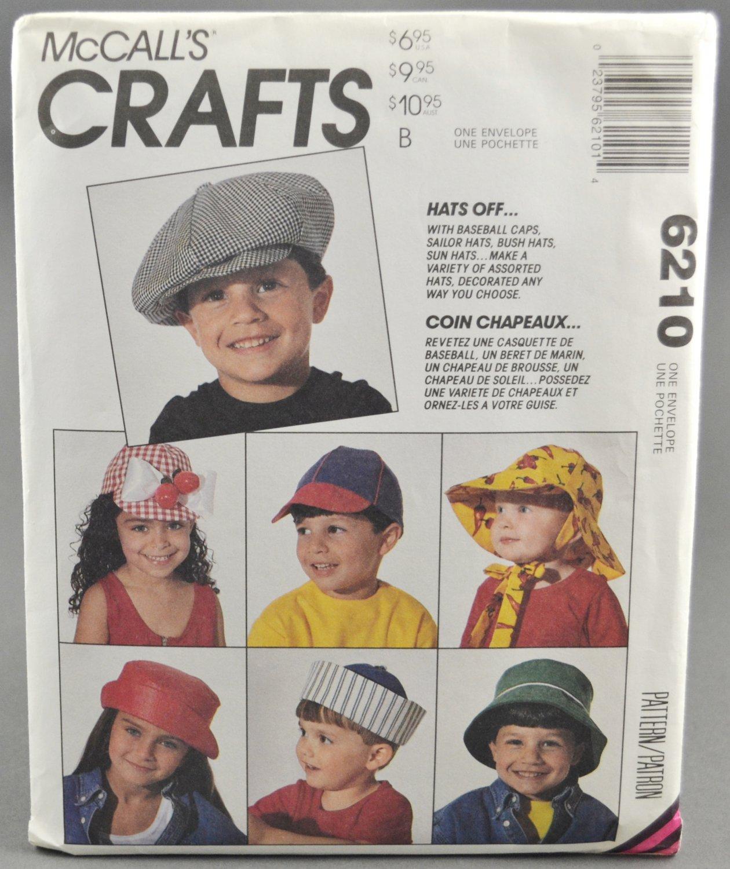 McCall's 6210 Crafts Hats Off Pattern Childrens' Caps Sailor Bush Sun Bonnet  Size S to L