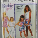 Simpliciy 7130 Barbie Girl Pants Skirt Shorts Top w/Transfer Size A 3-6X