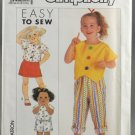 Simplicity 9639 Child's Skirt Pants Shorts & Tops Size A 3-6X