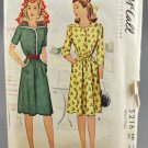 McCall 5216 Misses' Dress w/ Three Sleeve Lengths 1940s Sewing Pattern Size 14