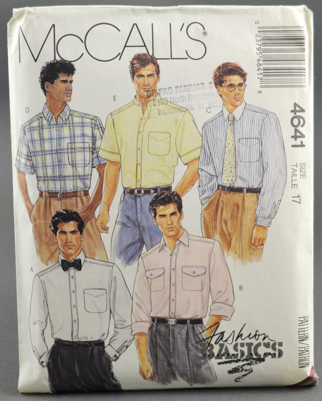 McCall's 4641 Fashion Basics Men's Shirts Vintage Sewing Pattern Size 17 Neck Size