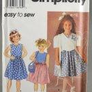 Simplicity 7067 Child's Size AA Dress Jacket Purse Sewing Pattern (2-3-4)