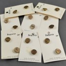 House of Banda 16 Metal Buttons w/ Flower Design 9/16 Inch on Cards