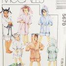 McCall's 5670 Sewing Pattern Children's Novelty Robes in Different Animals Size 2-6