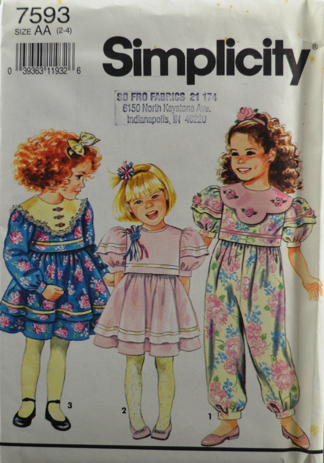 Simplicity 7593 Sewing Pattern Child's Dress & Romper Size AA 2-4