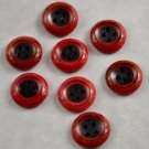 Set of 8 Red w/ Black Centers Vintage Plastic Sewing Buttons 4 Hole 3/4 Inch