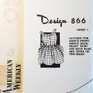 American Weekly 1950s Mail Order #866 Child's Pinafore Size 2-8