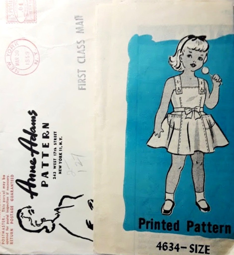 Anne Adams Mail Order Printed Sewing Pattern 4634 Child's Sundress Size 4