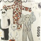 McCall's 6809 Animal Costume Sewing Pattern Children's Size Large 8-10