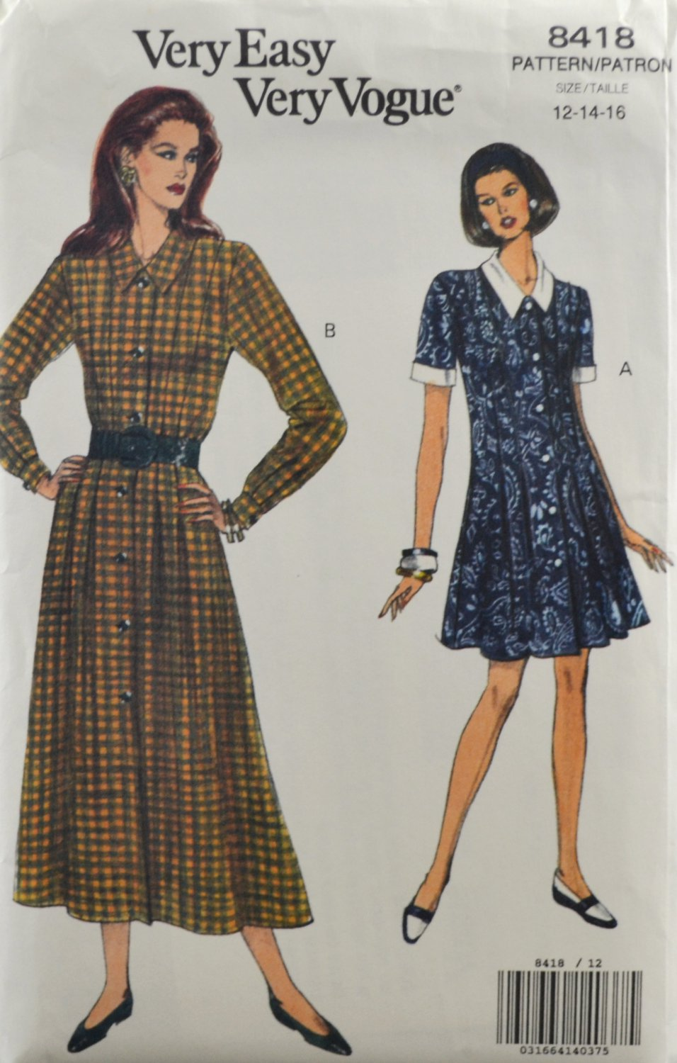 Vogue 8418 Sewing Pattern Misses' Dress w/ Front Buttons Size 12-14-16