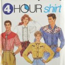 Simplicity 7936 Sewing Pattern Western Misses' Men's or Teen Boys' Shirt Size XS-MD