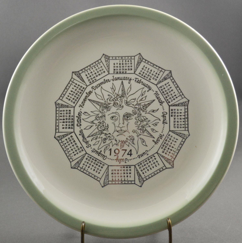 1974 Calendar Collector Plate White w/ Sage Green Edging & Sun Face Design