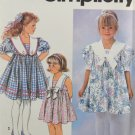 Simplicity 7697 Sewing Pattern Child's Dress w/ Collar Variations Size AA 2-4