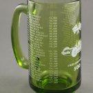 Vintage Indianapolis 500 Auto Race Souvenir Green Glass Mug