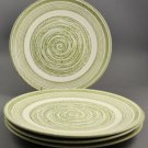 Set of 4 El Verde Green Swirl Ironstone Dinner Plates Max Schonfeld U.S.A.