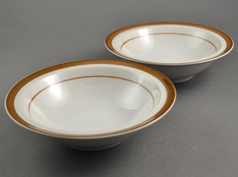 Set of 2 Sand Script AGI Japan Stoneware Cereal Bowls w/ Flat Rim