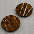 2 Large Plastic Coat Buttons Deco Brown Marbled Metal Backing Two Hole