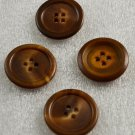 4 Brown w/ Tan Plastic Vintage Round Buttons 4 Holes