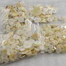 Lot of 782 Vintage White or Ivory Buttons 4-Hole 2-Hole & Shank Various Sizes