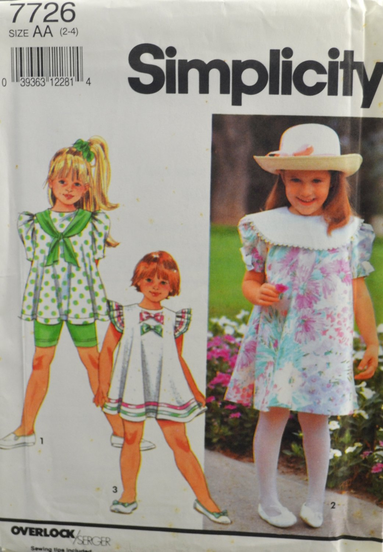 Simplicity 7726 Sewing Pattern Child's Dress Tunic Bicycle Shorts Size 2-4