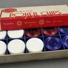 Vintage Beacon 100 Plastic Poker Chips White Blue Red w/ Box