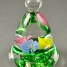 Joe Rice St Clair Art Glass Floral Multi Color Small Bell Paperweight