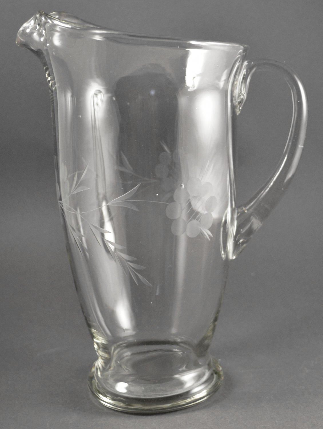 Tall Glass Pitcher w/ Applied Handle Lip Etched Floral & Vine