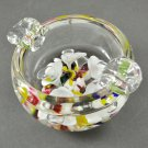 Maude & Bob St. Clair Art Glass Multi-Color Floral Ashtray Paperweight