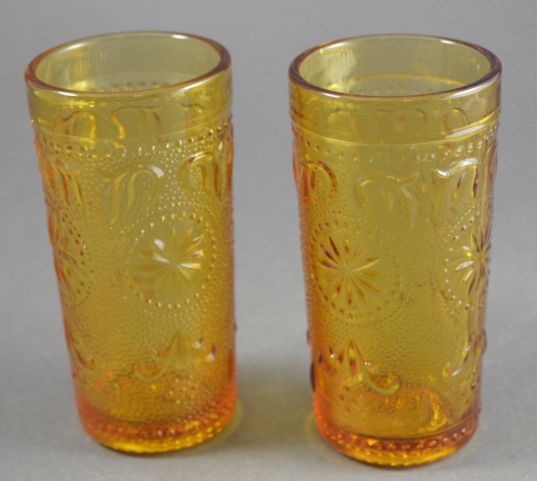 Brockway American Concord Amber Juice Vintage Tumblers