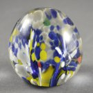 Glass Paperweight Round Floral Italy Hand-Blown Blue & White Plumes