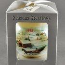 1988 Christmas Satin Thread Christmas Ornament Sleigh Snow Scene GM 5548K