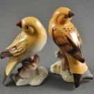 Set of Vintage Bird Ceramic Figurines Tan & Brown Japan
