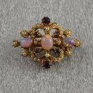 Vintage Hat or Lapel Pin Pink Cabockons & Purple Rhinestones Goldtone Filigree Setting