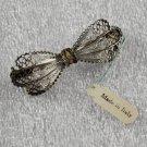 800 Silver Filigree Ribbon Bow Pin w/ White Enamel Vintage Italian Jewelry