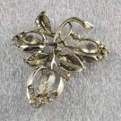 Vintage Jewelry Brooch w/ Clear Rhinestones In Silver Leaf Flower Design